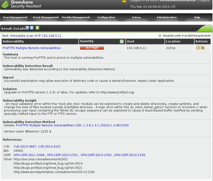 Tools - OpenVAS scanner de vulnérabilités
